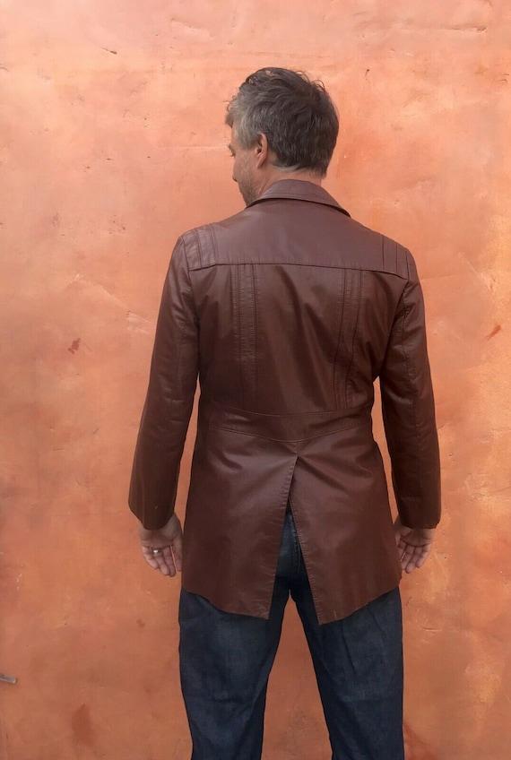 Vintage 1970s Men's Brown Leather Jacket Blazer C… - image 6