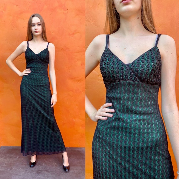 Vintage 1990s Green and Black Beaded CACHE Maxi Dr