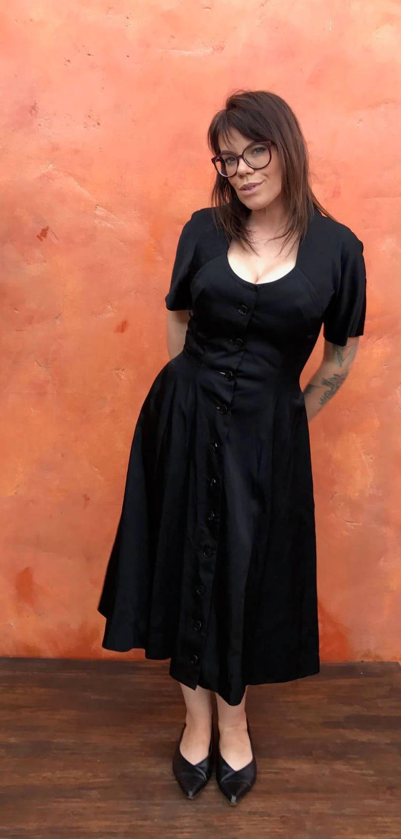 0e7186e66beec Vintage 1950s Black Swing Dress. retro rockabilly pinup | Etsy