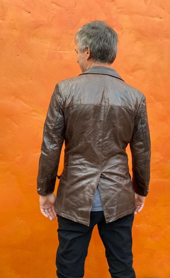 Vintage 1970s Men's Dk Brown Leather Jacket Blaze… - image 6