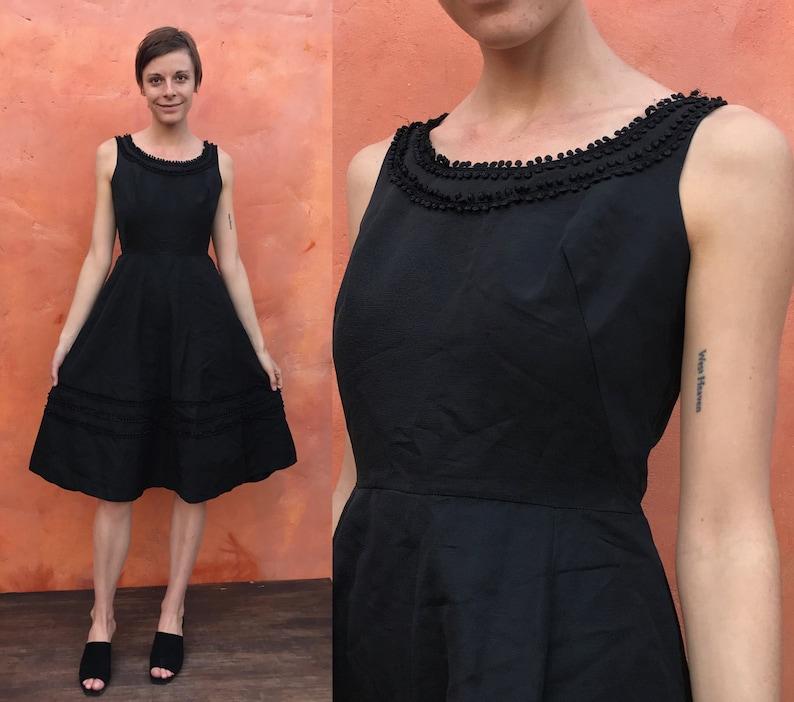 c001c6d8782f3 Vintage 1950s Black Party Swing Fit Flare Cocktail Dress pinup | Etsy