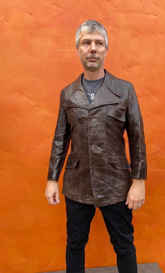 Vintage 1970s Men's Dk Brown Leather Jacket Blaze… - image 5