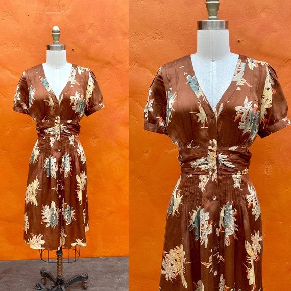 Vintage 1990s does 1940s Brown Silk Floral Dress.