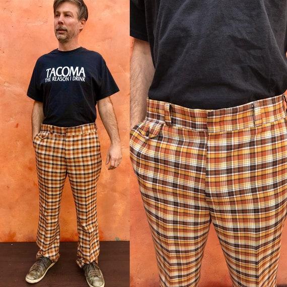 Vintage 1960s 1970s Men's Brown Tan Plaid Pants. 7