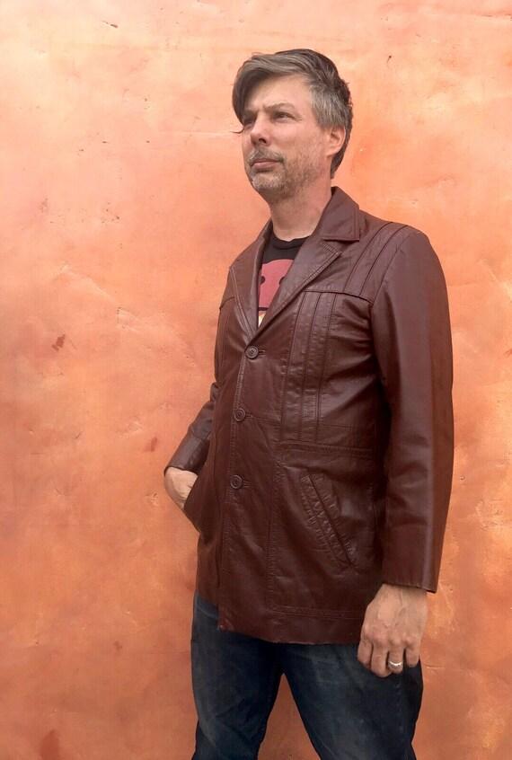 Vintage 1970s Men's Brown Leather Jacket Blazer C… - image 4