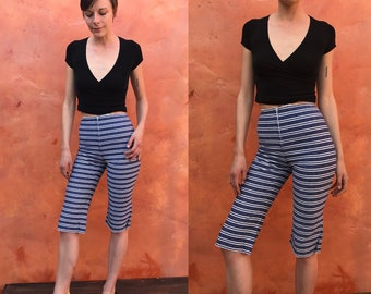 Vintage 1950s 1960s Women's Pedal Pushers Pants. Blue White Striped Cropped pants. High waisted pants. 50s pedal pushers capris xs Size 0 2