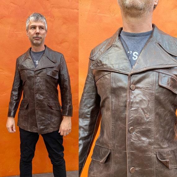 Vintage 1970s Men's Dk Brown Leather Jacket Blaze… - image 1