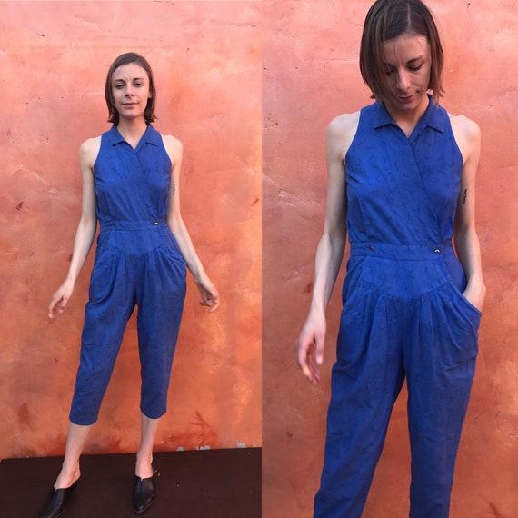 Vintage Women's 1980s Blue Jumpsuit. Vintage jumpe