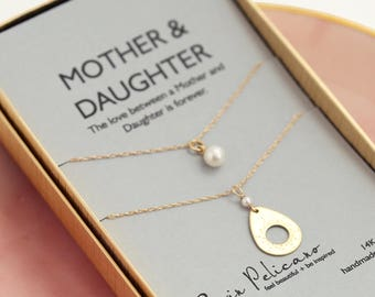 Mother Daughter Gift Bridal Jewelry Wedding Jewelry Bridal Necklace Pearl Necklace Mother of the Bride Gift for Wife Gift for Mom