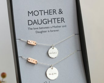 Mother Daughter Necklace Set Mothers Day Gift For Mom Rose Gold Heart Baptism Birthday Personalized Jewelry