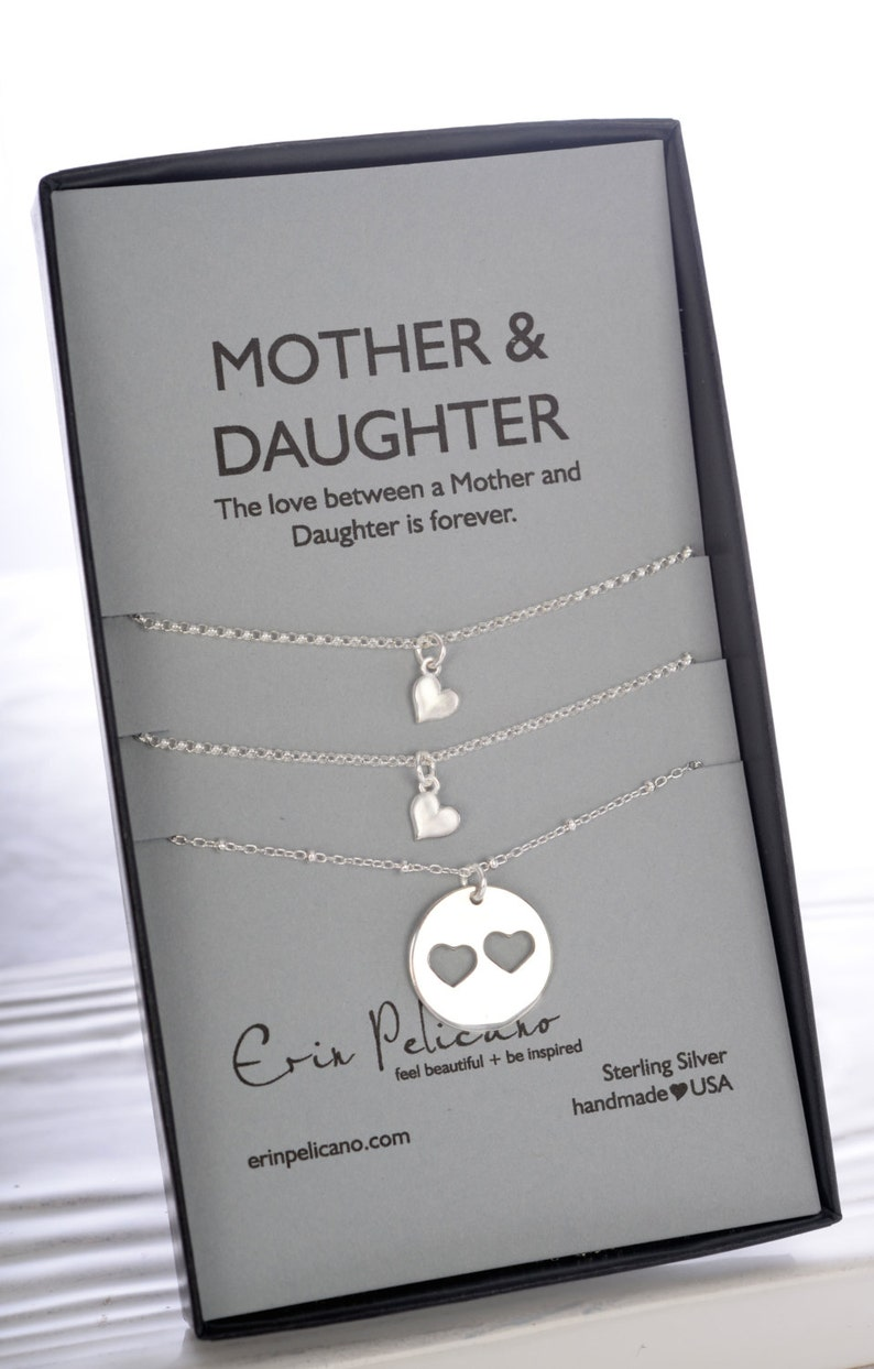Mothers Day Mother Daughter Necklace Set Gifts For Mom Sister Gift Heart Birthday