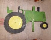 Charming Vintage, Handmade Tin, John Deere , Green Tractor , Weather Vane Top Topper