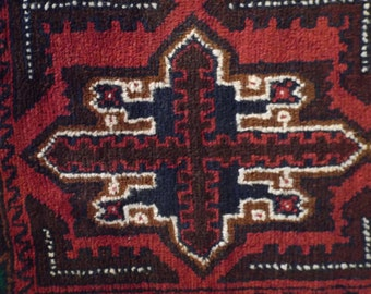 """Hand Knotted,  Tribal Rug from Afghanistan, 2'11""""x4'8""""  Repeating Motif,  Burgundy, Navy, Green, All Wool Home Decor"""