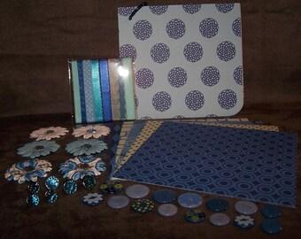 Blue 6x5.5 inch Chipboard Scrapbook Kit