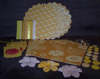 Yellow 5.75 inch round Chipboard Scrapbook Kit