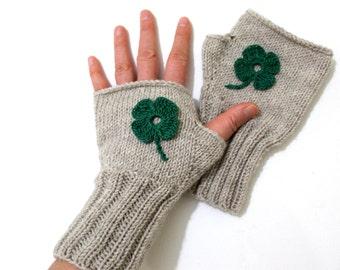 30a8afc1fe0b9 Beige Wool Gloves, Knit Gloves, Girl Gift, Shamrock Flowers, Special Design,  Hand Warmers, Women Gift, Winter Accessories, St Patricks Days