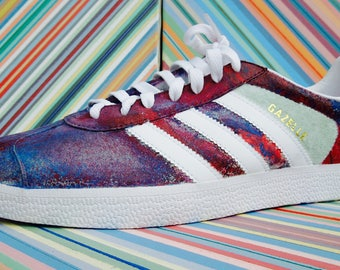 uk availability 5ba02 f66dc Custom Hydro-Dipped Adidas Gazelle, Mens 10, Red, White, and Blue