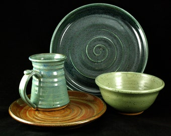 Handmade Stoneware Dish Set- Mix and Match Solid
