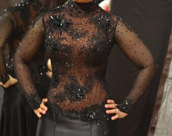 Ballroom Dance Dress Black Lace with Swarovski Crystals