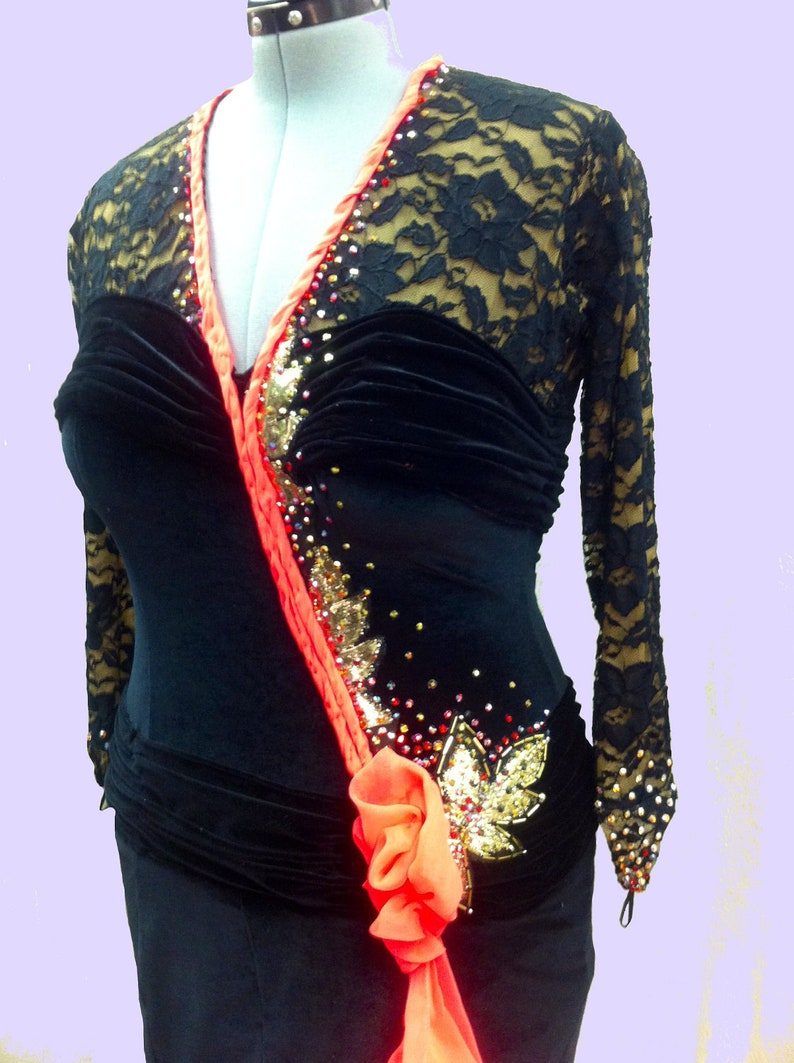 7f8c8adab9a7 Ballroom Dance Dress from black stretch velvet and lace | Etsy