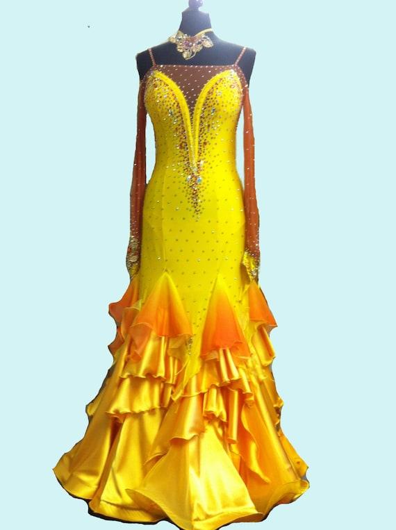 Yellow Ballroom Dance Dress Ballroom Dance Dresses
