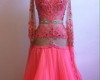 Peach Ballroom Dance dress   Ballroom Dance Dresses    Dance Ballroom Gown Peach color
