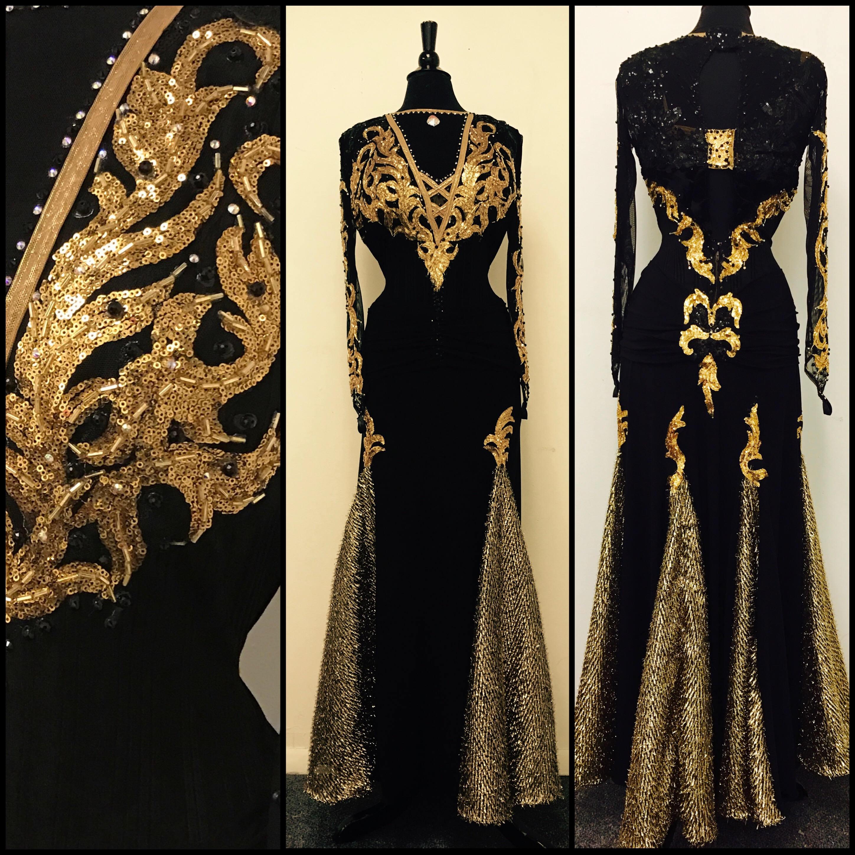 17c0b1ac6 Black and Gold Dance Dress for Smooth Dance Ballroom Dance Dresses Gold