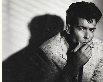Carlos Irwin Estevez or Charlie Sheen American Actor- B/W Chrome Photo Postcard Captured in 1987