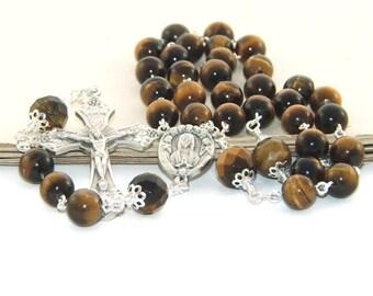 Tiger Eye Rosary, 3 Decade Catholic Man's Rosary Prayer Beads
