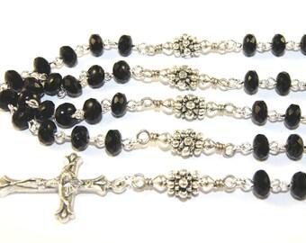 Black & Silver Rosary, Virgin Mary Center, Handmade Catholic Rosary