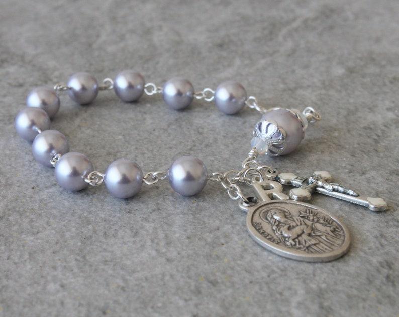 4289d0e7f42ec Saint Agnes Rosary Bracelet with Initial Charm, Lavender Swarovski Pearls