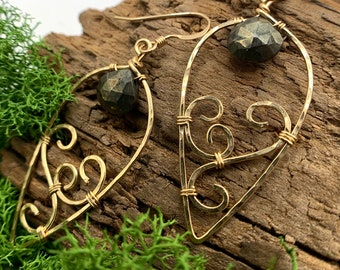 MIA Pyrite Nouveau Swirl Gold Olive Leaf Earrings - Everyday Boho Luxe Jewelry