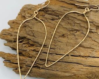MARIA Olive Leaf Hammered Earrings - Hand Hammered Leaf Jewelry - Minimalist Boho Earrings