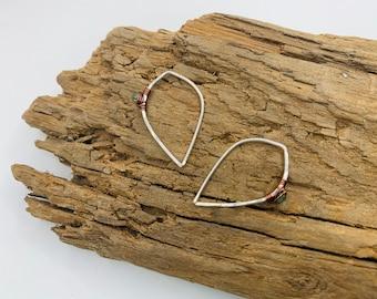 GABI Aventurine Dewdrop Threader Mixed Metal Earrings - Unisex Everyday Boho Luxe Jewelry
