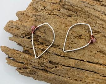 GABI Pink Tourmaline Dewdrop Threader Mixed Metal Earrings - Unisex Everyday Boho Luxe Jewelry