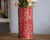 Red Embossed Vase