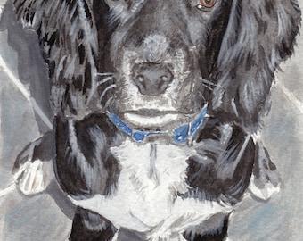 A4 A3 A2 Black Cocker Spaniel Dog Art Print of original watercolour RussellArt