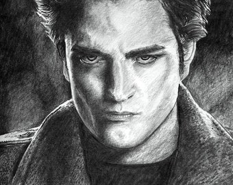 TWILIGHT robert pattinson / Edward Cullen A4 A3 or A2 Size Limited Edition Print of my original pencil Drawing from RussellArt