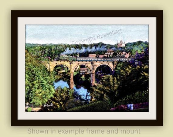 Knaresborough Train Railway Landscape Giclee Art Print of drawing by RussellArt
