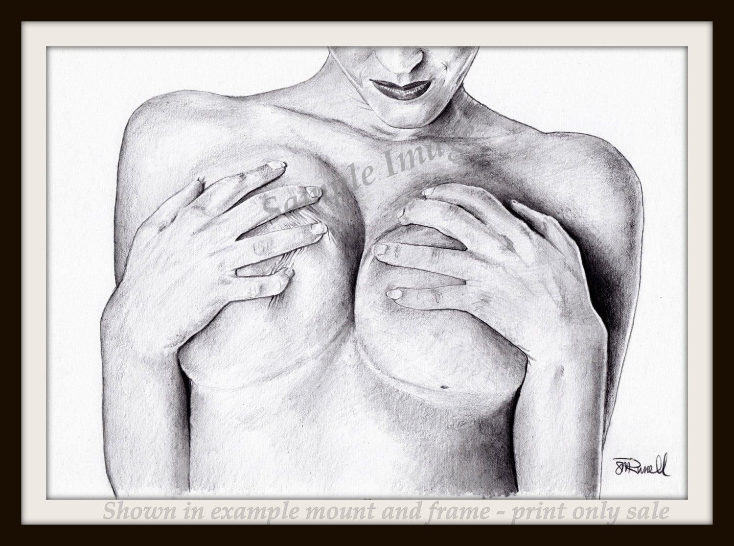 Sensuality female nude erotic large a4 a3 or a2limited edition art print of my original pencil drawing by steve russell of russellart
