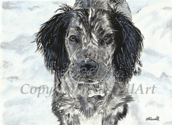 /'Black Poodle/' A4 A3 A2 Dog dogs Art Print of watercolour painting by RussellArt