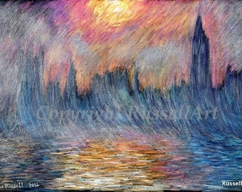 BIG BEN A4 A3 or A2 Size Houses Parliament Westminster London Art Print by RussellArt