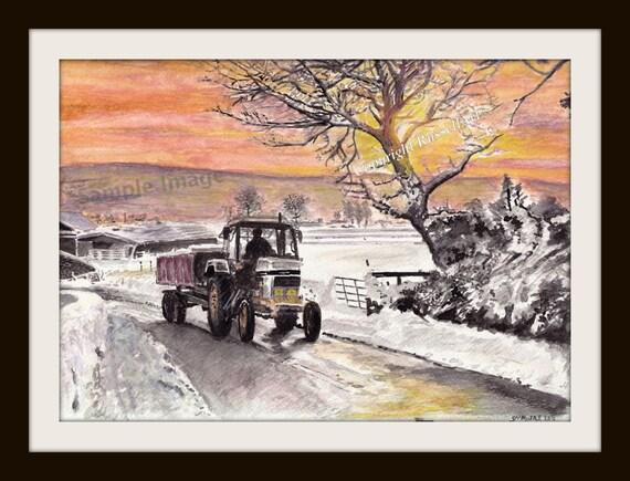 David Brown Tractor A4 A3 A2 Landscape print of original watercolour RussellArt