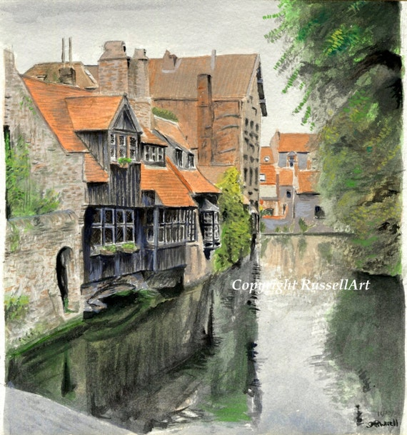 Reflections of Bruges A4 A3 A2 ltd ed print of watercolour painting RussellArt
