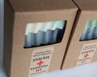 Zombie Survival Kit - travel size - zombie survival, zombie apocalypse, survivalists, man soap, nerd soap, man gift, walking dead fan gift