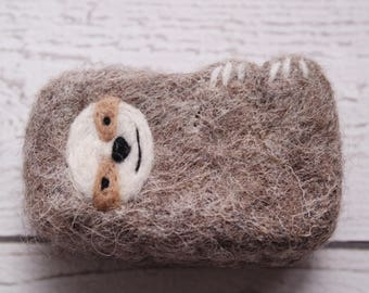 Sloth gift - felted sloth soap - felted soap, kid soap, stocking stuffer, woodland creature, animal