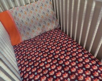 SALE . SALE . SALE . Foxy faces on purple ...  Baby Crib or Toddler Bed Flannel Fitted Sheet