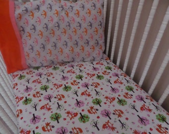 SALE . SALE . SALE . Cute Foxy and apples ...  Baby Crib or Toddler Bed Flannel Fitted Sheet