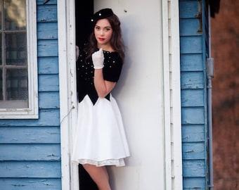 Vintage 1950s Style Black & White Rockabilly Dress, Velvet, Rhinestones and Taffeta