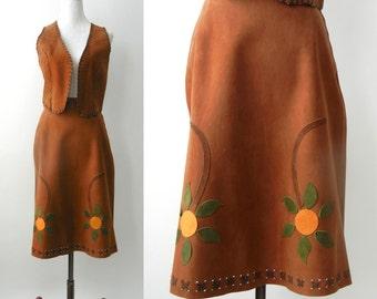 5677ee16f Vintage 1970s Country Western Brown Suede Skirt & Vest Set, 70s Hippie Skirt,  70s Hippie Vest, Boho Vest, Boho Skirt, Floral Suede Skirt